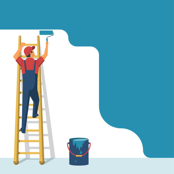 Painter standing on staircase paints the wall Painter standing on staircase paints the wall. A man is holding a paint roller in hand. Vector illustration of flat design style. Human runs to provide construction work. Customer Service. Worker in uniform. renovation stock illustrations