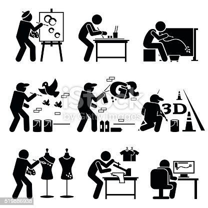 Vector set stick figure pictogram representing artist painting, drawing, and designing on easel, table, batik, wall, floor, shirt, and computer.