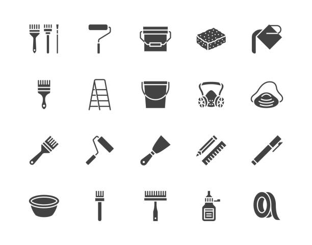 Painter tools flat glyph icons set Home renovating equipment roller paintbrush ladder masking tape, respirator vector illustrations. Signs interior design. Silhouette pictogram pixel perfect 64x64 Painter tools flat glyph icons set Home renovating equipment roller paintbrush ladder masking tape, respirator vector illustrations. Signs interior design. Silhouette pictogram pixel perfect 64x64. masking tape stock illustrations