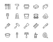 Painter tools flat line icons set Home renovating equipment roller paintbrush ladder masking tape, respirator vector illustrations. Outline signs interior design. Pixel perfect 64x64 Editable Strokes.
