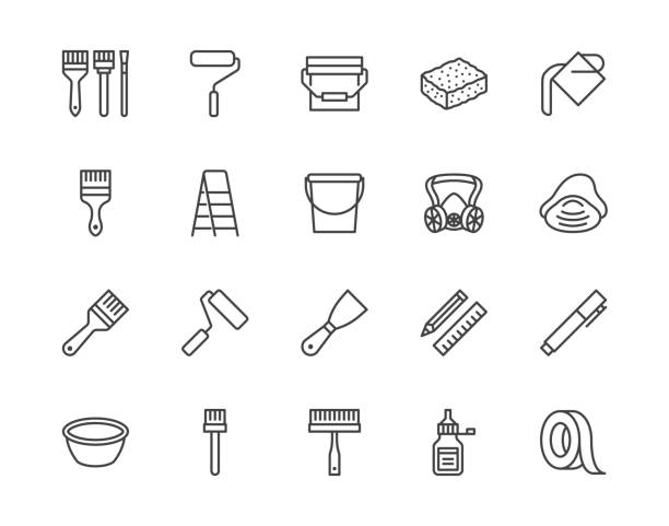 Painter tools flat line icons set Home renovating equipment roller paintbrush ladder masking tape, respirator vector illustrations. Outline signs interior design. Pixel perfect 64x64 Editable Strokes Painter tools flat line icons set Home renovating equipment roller paintbrush ladder masking tape, respirator vector illustrations. Outline signs interior design. Pixel perfect 64x64 Editable Strokes. interior designer stock illustrations