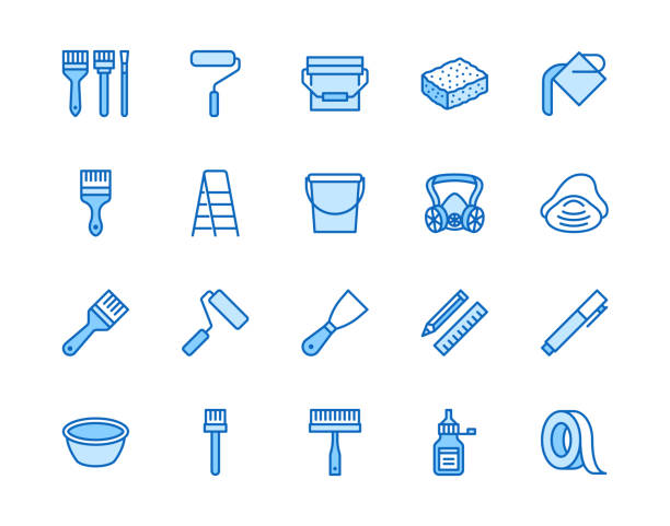 Painter tools flat line icons set Home renovating equipment roller paintbrush ladder masking tape, respirator vector illustrations. Outline signs interior design. Pixel perfect 64x64 Editable Strokes Painter tools flat line icons set Home renovating equipment roller paintbrush ladder masking tape, respirator vector illustrations. Outline signs interior design. Pixel perfect 64x64 Editable Strokes. masking tape stock illustrations