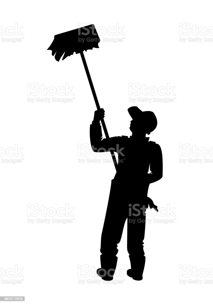 Painter With A Brush vector art illustration