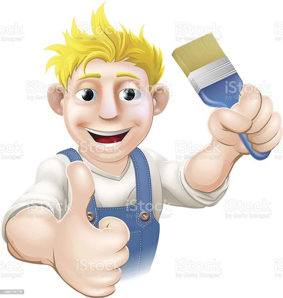 Painter with paintbrush royalty-free stock vector art