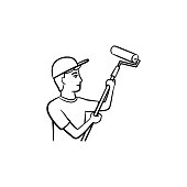 Painter with roller hand drawn sketch icon