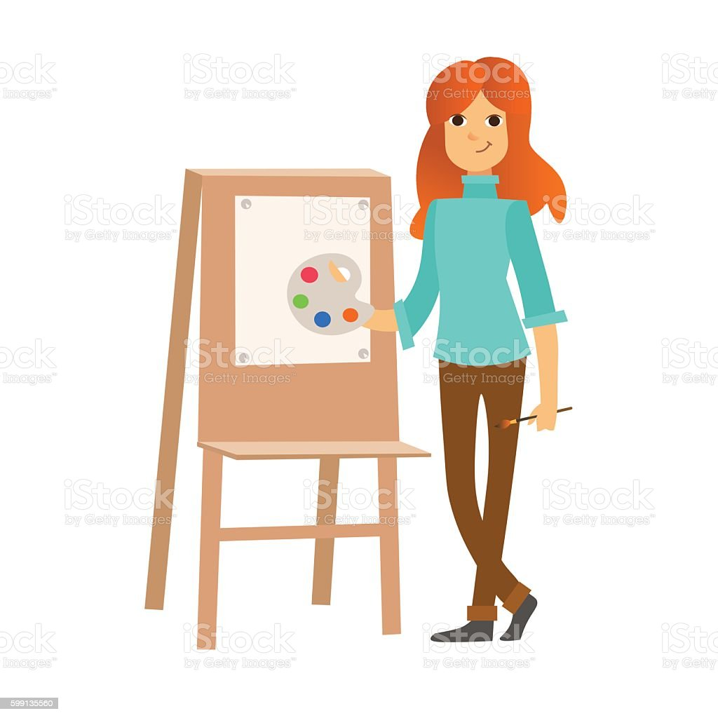 Painter Woman at Work Easel Palette. Vector vector art illustration