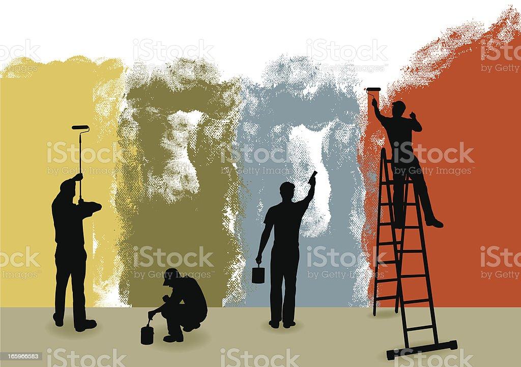 Pintores fondo de bricolaje, reparador - ilustración de arte vectorial