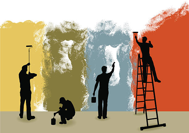 """Painters Background - Home Improvement, Repairman Tight graphic silhouette background illustration of four house painters. Paint Can, Ladder, Paint Brush. Color changes a snap. Check out my """"Construction Vector"""" light box for more. house painter stock illustrations"""