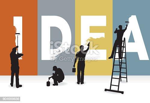 istock IDEA - painters creating the word 904669636