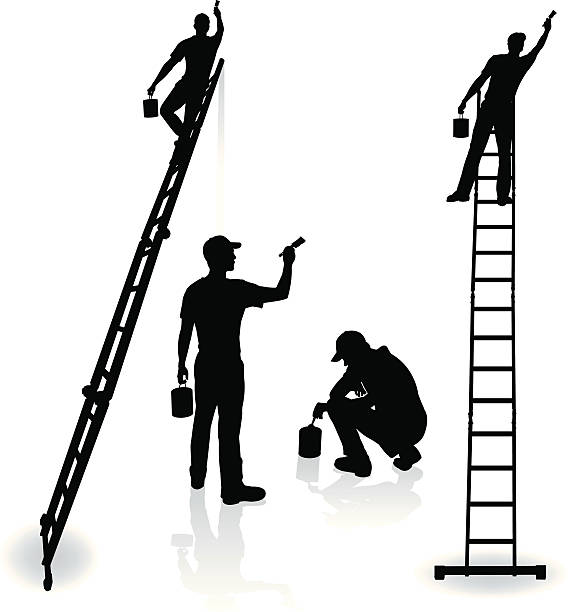 """Painters - Home Improvement, Repairman, Painting Painters - Home Improvement, Repairman. Tight graphic silhouette illustrations of house painters Paint Can, Ladder, Paint Brush. Color changes a snap. Check out my """"Construction Vector"""" light box for more. house painter stock illustrations"""
