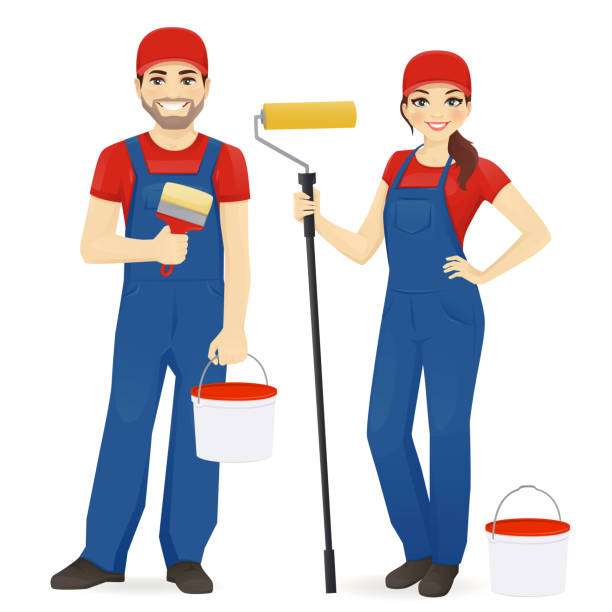 Painters Set of male and female painters wearing blue overall with roller, brush and paint isolated vector illustration house painter stock illustrations