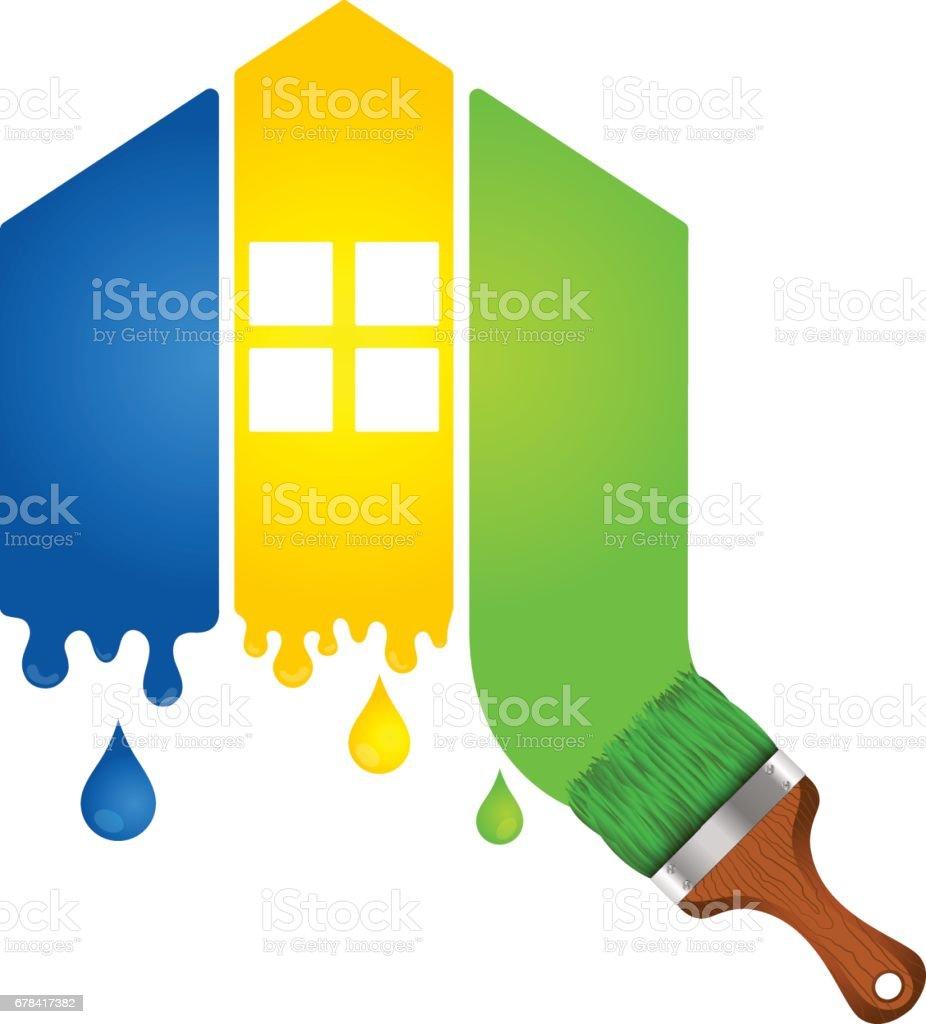 Malerei Ein Haus Für Unternehmen Lizenzfreies Malerei Ein Haus Für  Unternehmen Stock Vektor Art Und Mehr