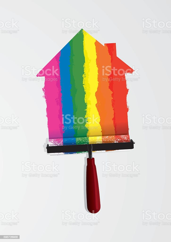 Painting a house with rainbow colours vector art illustration