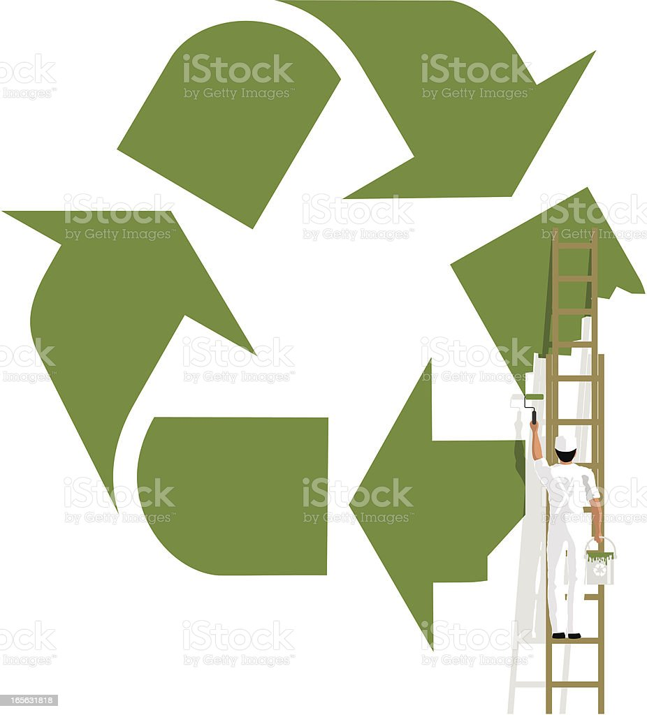 Painting a recycling symbol royalty-free stock vector art