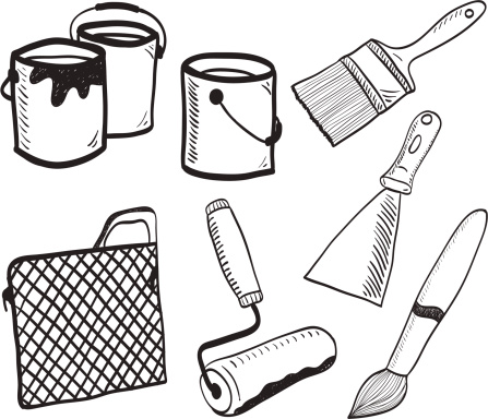 Painting accessories -  hand-drawn illustration