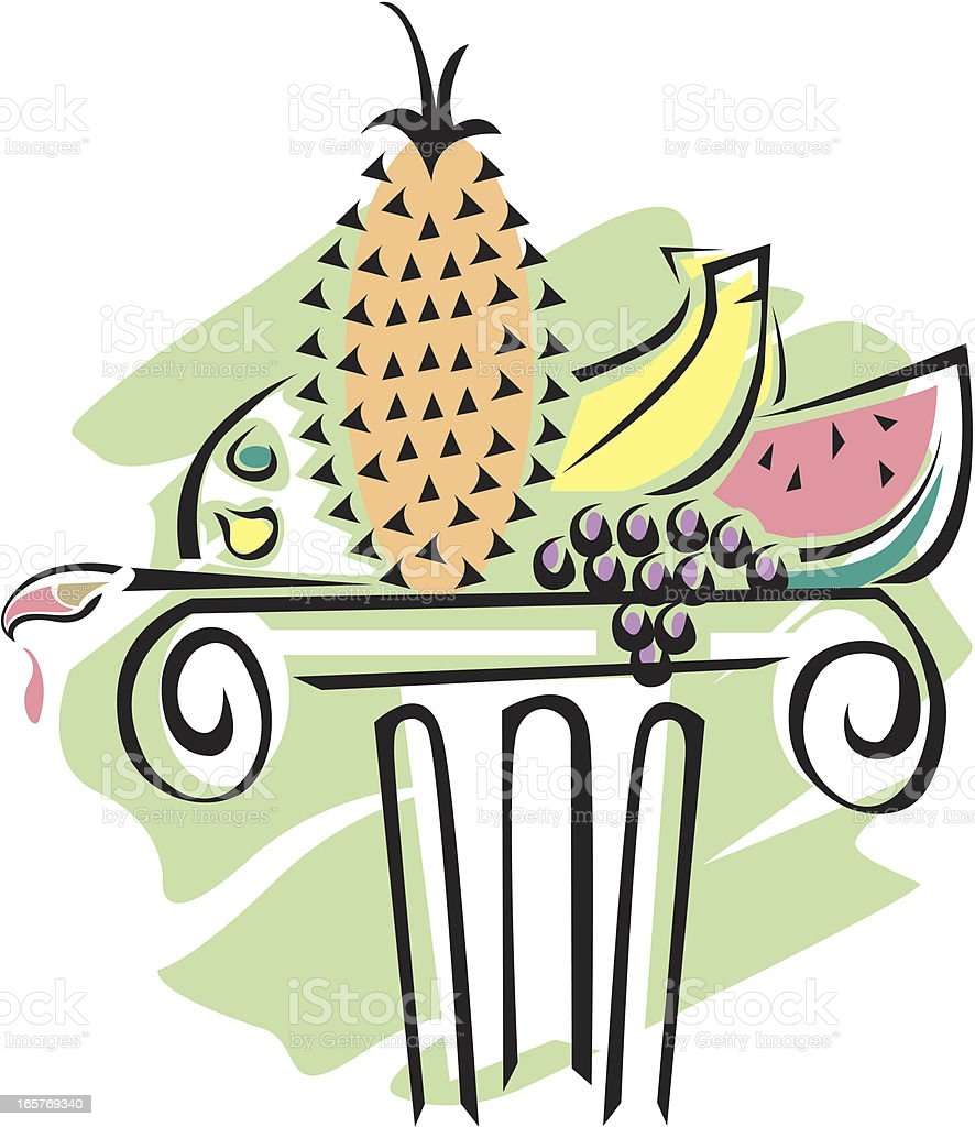 Painting and colorful fruits royalty-free stock vector art