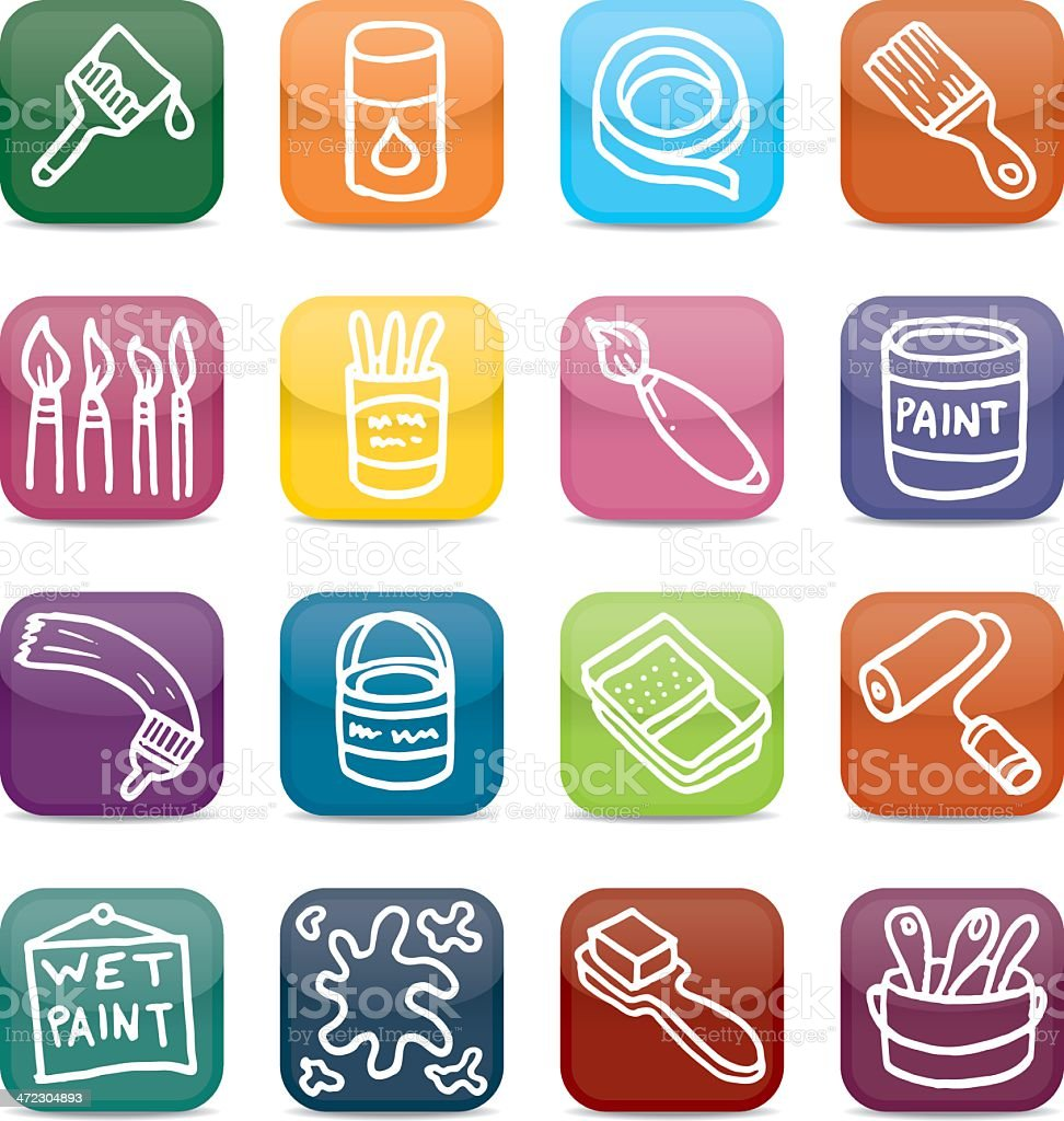 Painting And Decorating App Style Icon Set Stock Vector