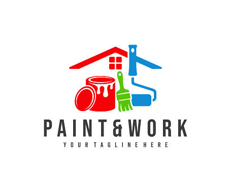 Painting and decorating, paint work and house painting, design. Home, painting tools, can of paint, roller brush and brush, vector design and illustration