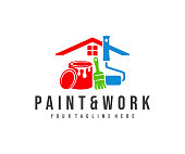 istock Painting and decorating, paint work and house painting, design. Home, painting tools, can of paint, roller brush and brush, vector design and illustration 1280937868