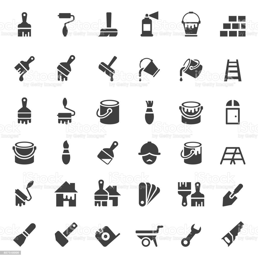 Painting and tools icon set vector art illustration