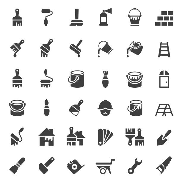 Painting and tools icon set Painting and tools icon set paint can stock illustrations