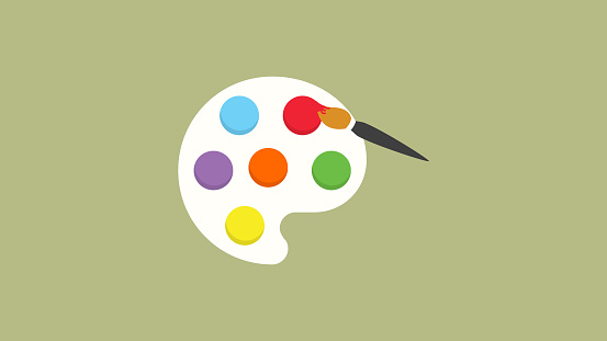 Painting art board and brush icon color pallete