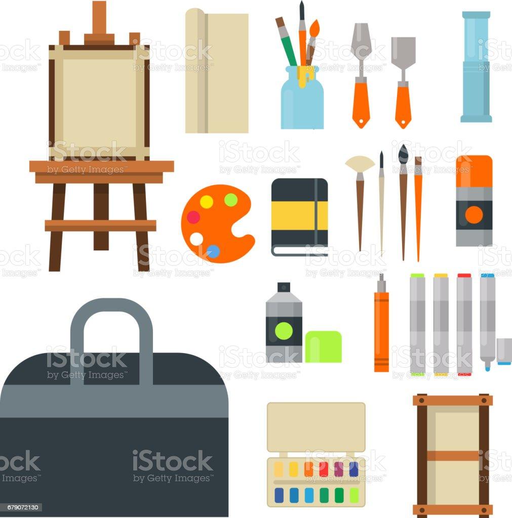 Pintura Icono De Paleta De Herramientas De Arte Establece Equipos  ~ Herramientas Pintor Profesional