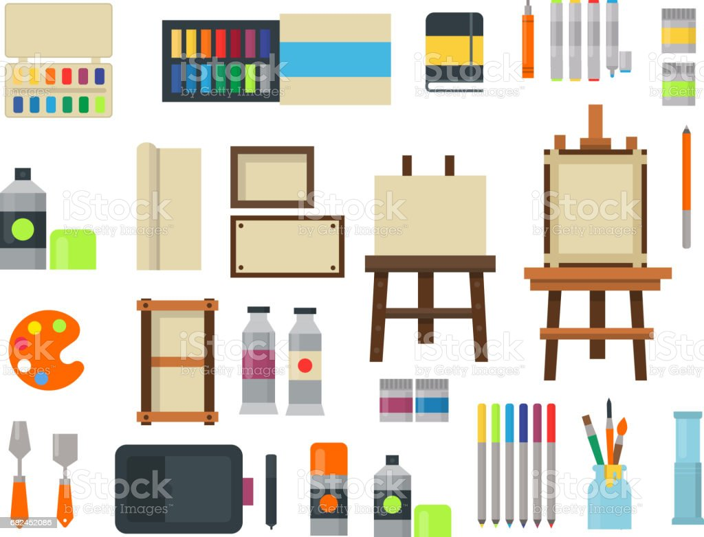 Painting art tools palette icon set flat vector illustration details stationery creative paint equipment royalty-free painting art tools palette icon set flat vector illustration details stationery creative paint equipment stock vector art & more images of art