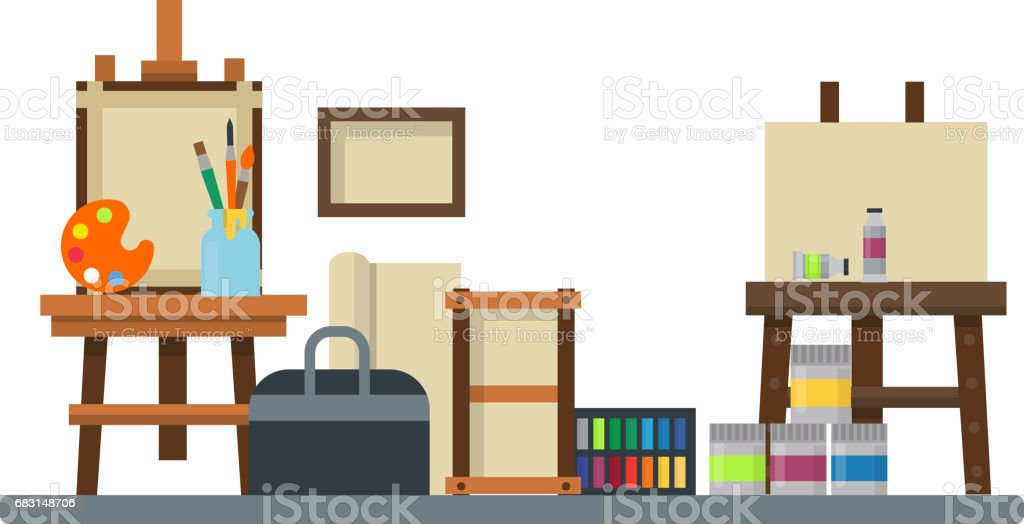 creative furniture icons set flat design. Painting Art Tools Palette Icon Set Flat Vector Illustration Details  Stationery Creative Paint Equipment Royalty- Furniture Icons Design I