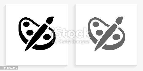 Painting Black and White Square Icon. This 100% royalty free vector illustration is featuring the square button with a drop shadow and the main icon is depicted in black and in grey for a roll-over effect.