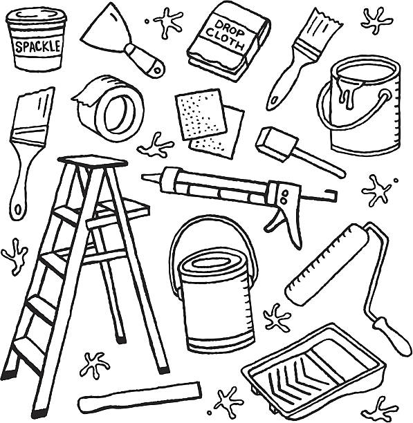 Painting Doodles A painting-themed doodle page. diy stock illustrations