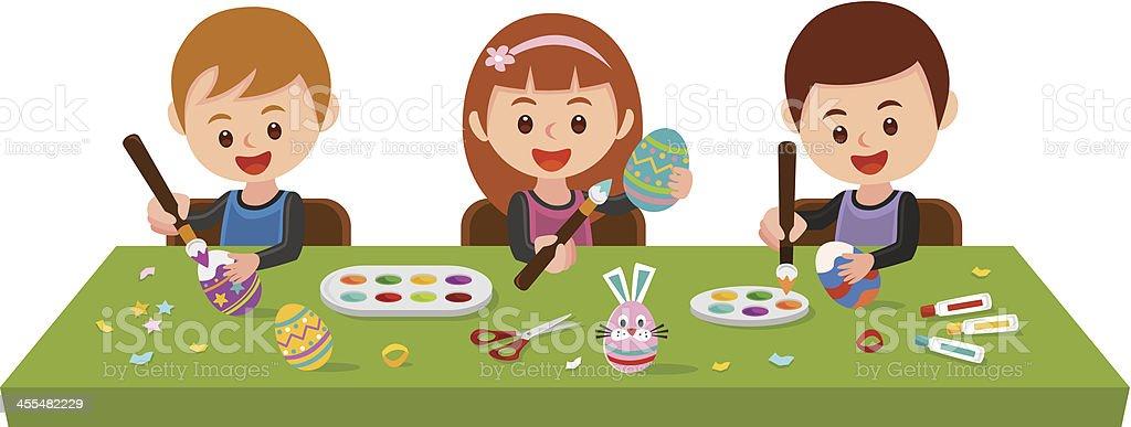 Painting Easter eggs vector art illustration