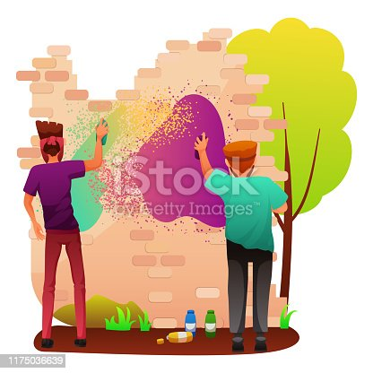 Painting graffiti on wall flat vector illustration. Rebellious teenagers drawing on building cartoon characters. Street artists making inscription. Urban art, spray painting on house isolated clipart