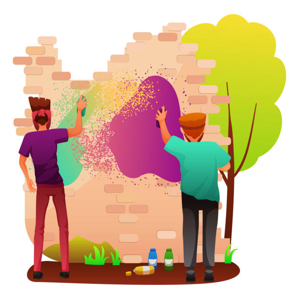 Painting graffiti on wall flat vector illustration Painting graffiti on wall flat vector illustration. Rebellious teenagers drawing on building cartoon characters. Street artists making inscription. Urban art, spray painting on house isolated clipart vandalism stock illustrations