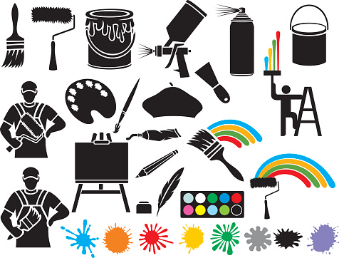 painting icons collection (brush, roller, beret)