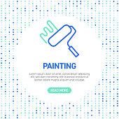 Painting Line Icons. Simple Outline Symbol Icons with Pattern