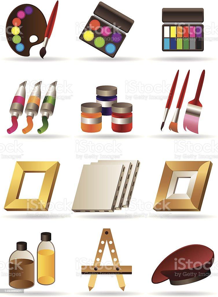 Ilustración de Pintura De Materiales Y Herramientas Para Artistas y ...