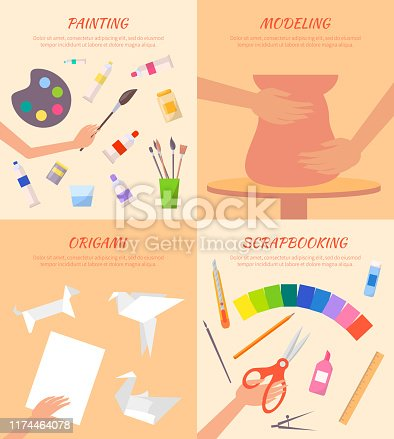 Painting modeling origami scrapbooking posters set with paper figures, paints with brushes, process of making pot from clay and cutting vector