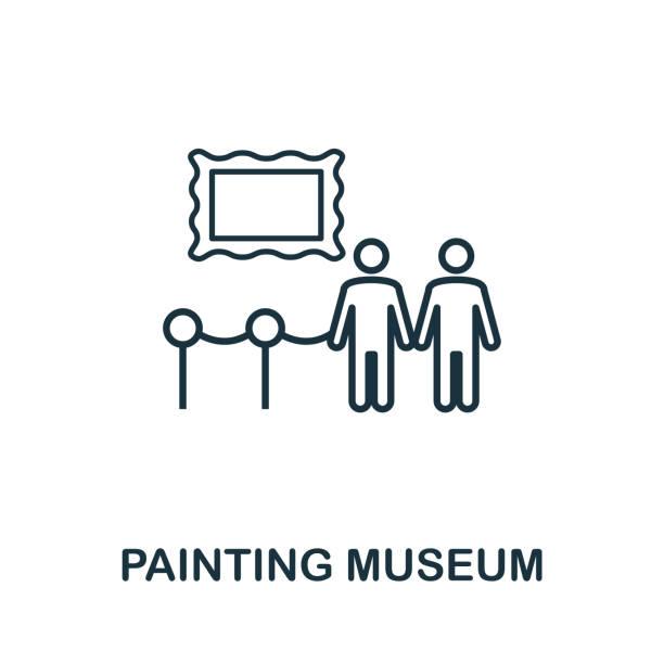 illustrations, cliparts, dessins animés et icônes de icône de contour de musée de peinture. élément conceptuel de ligne mince de la collection d'icônes de tourisme. icône creative painting museum pour les applications mobiles et l'utilisation du web - museum