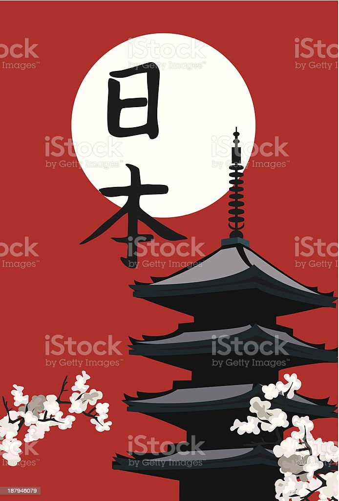 A painting of a pagoda with Chinese symbols royalty-free stock vector art