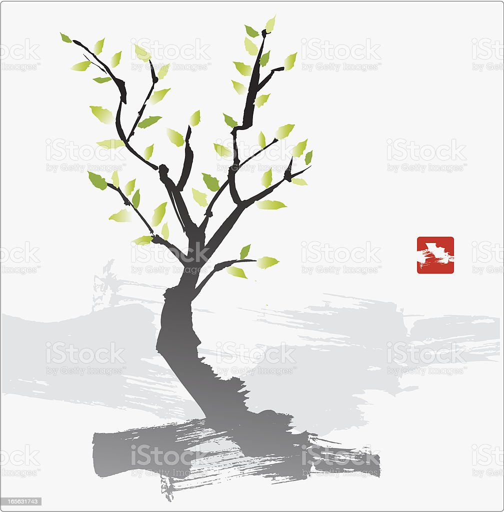 Painting of a small tree on white background  royalty-free stock vector art
