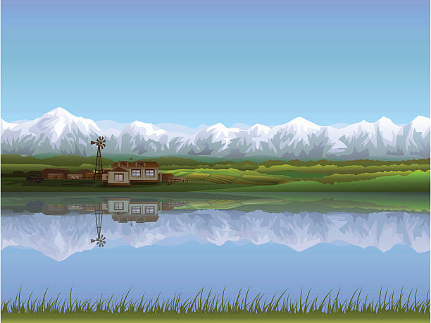 Painting of an alpine farm near a lake Alpine farm (.AI 10 version included, other landscapes are in my gallery) tranquil scene stock illustrations