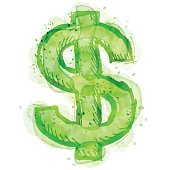 Painting of dollar symbol with watercolor effect