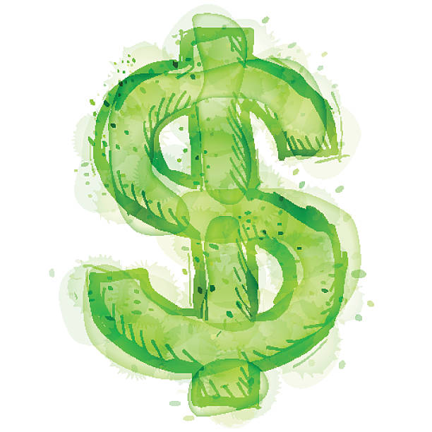 bildbanksillustrationer, clip art samt tecknat material och ikoner med painting of dollar symbol with watercolor effect - dirty money