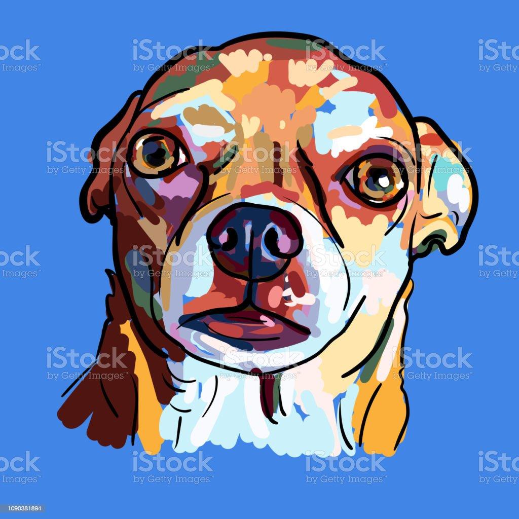 Peinture Dune Drole De Tete De Chien Chihuahua Sur Fond Bleu Vecteurs Libres De Droits Et Plus D Images Vectorielles De Amitie Istock