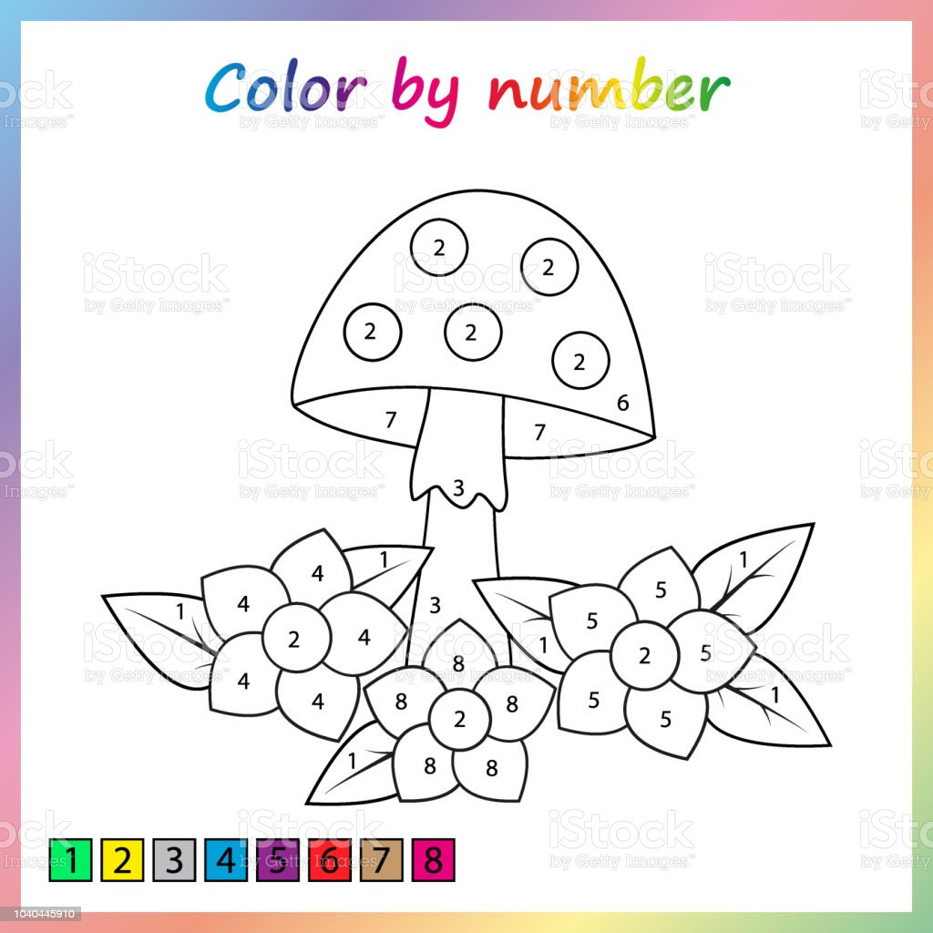 painting page color by numbers worksheet for education game for preschool kids stock. Black Bedroom Furniture Sets. Home Design Ideas