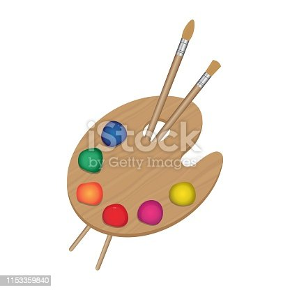 Painting palette and brushes vector illustration isolated on white background