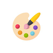 Painting Palette Flat Icon. Pixel Perfect. For Mobile and Web.