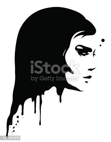 A lady portrait with liquid paint