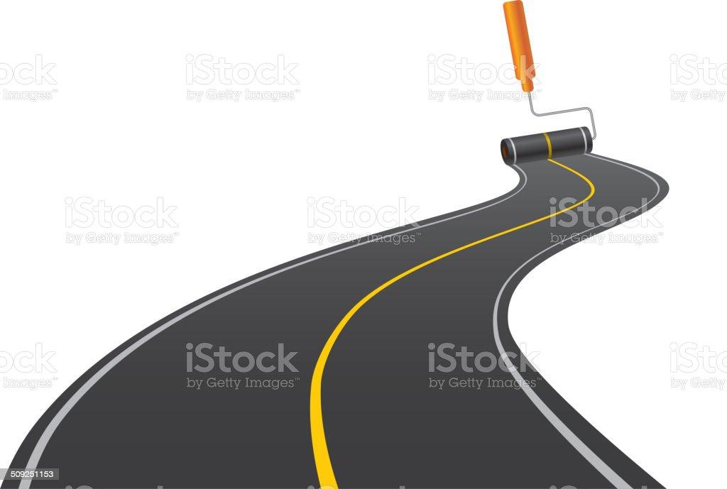 Painting road vector art illustration
